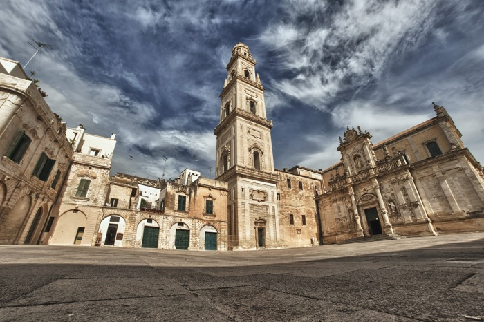 Baroque building and church view from Lecce, Italy